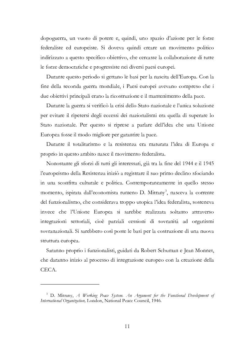 Anteprima della tesi: L'Europa secondo De Gasperi: proposte istituzionali e prospettive teoriche negli anni della ricostruzione, Pagina 10