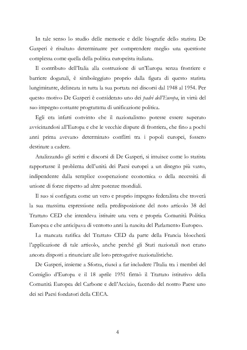 Anteprima della tesi: L'Europa secondo De Gasperi: proposte istituzionali e prospettive teoriche negli anni della ricostruzione, Pagina 3