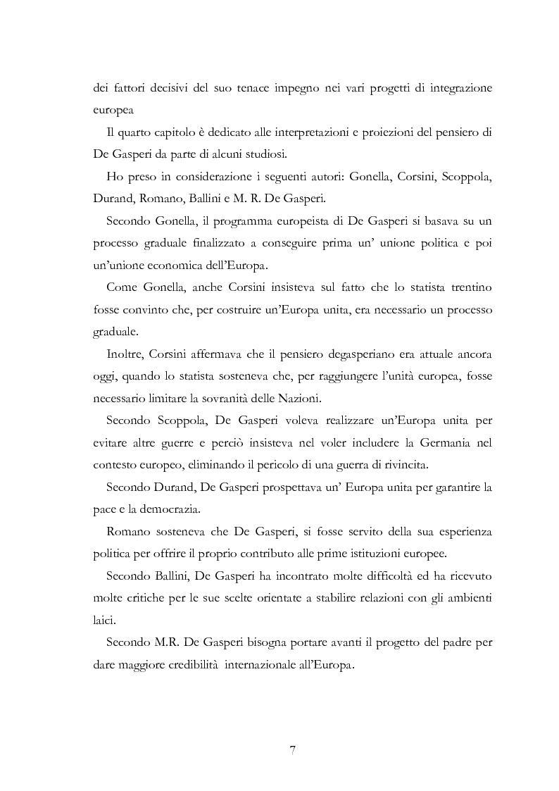 Anteprima della tesi: L'Europa secondo De Gasperi: proposte istituzionali e prospettive teoriche negli anni della ricostruzione, Pagina 6
