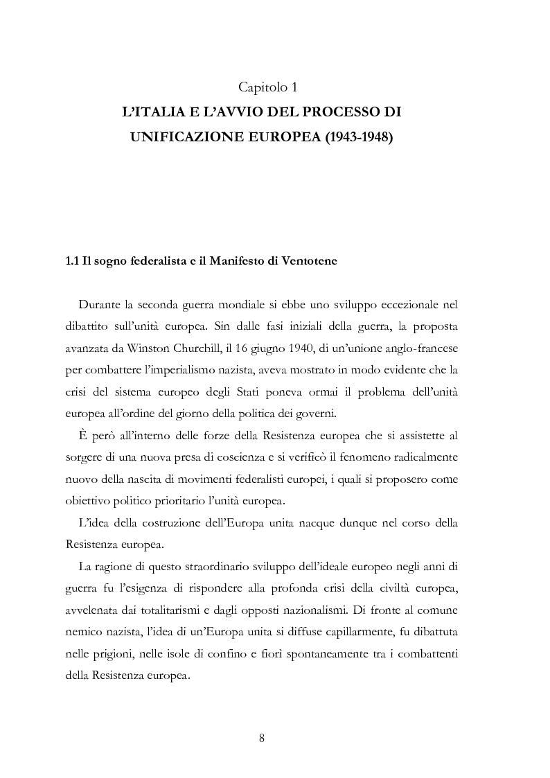 Anteprima della tesi: L'Europa secondo De Gasperi: proposte istituzionali e prospettive teoriche negli anni della ricostruzione, Pagina 7