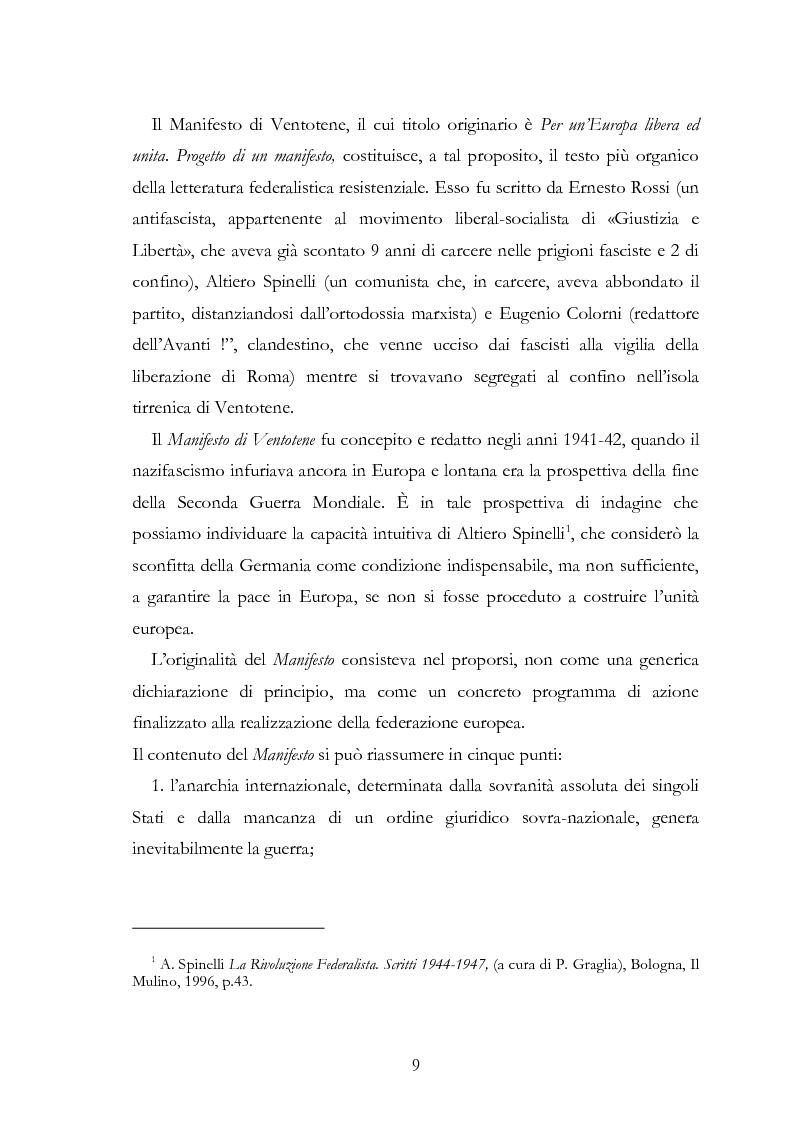Anteprima della tesi: L'Europa secondo De Gasperi: proposte istituzionali e prospettive teoriche negli anni della ricostruzione, Pagina 8