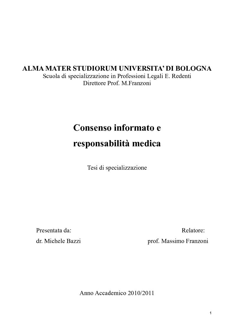 Anteprima della tesi: Consenso informato e responsabilità medica, Pagina 1