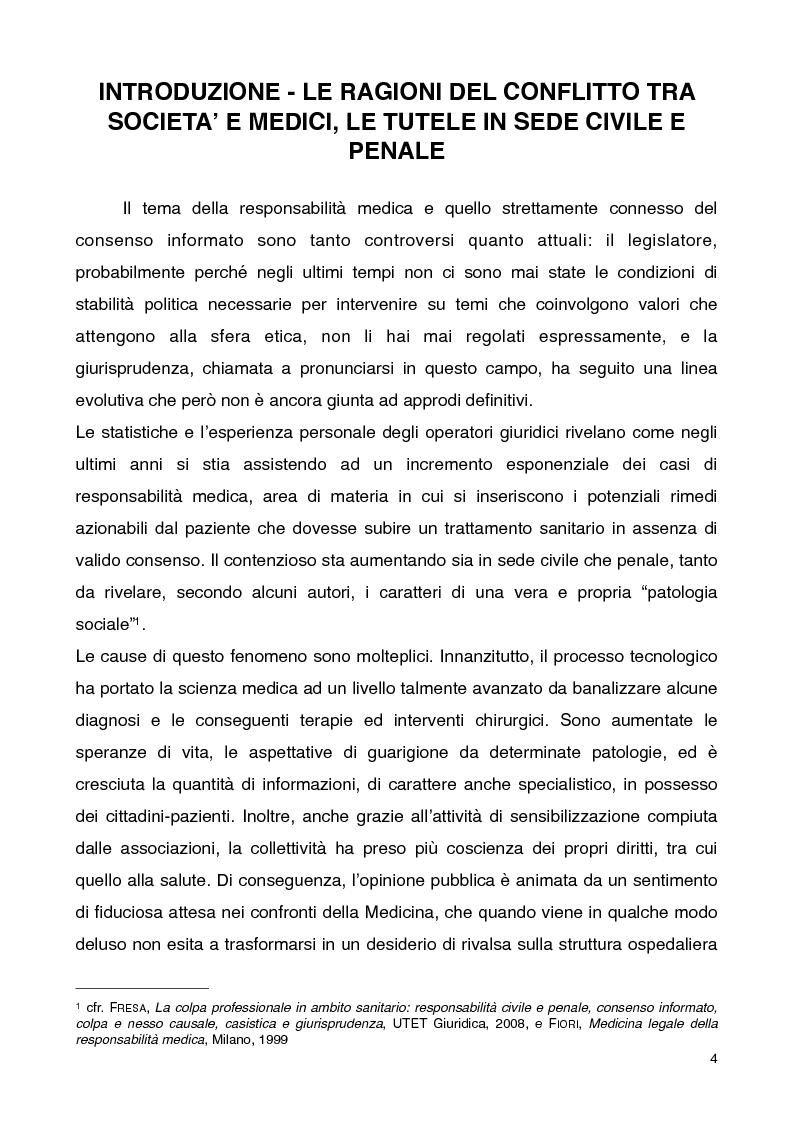 Consenso informato e responsabilit� medica - Tesi di Laurea