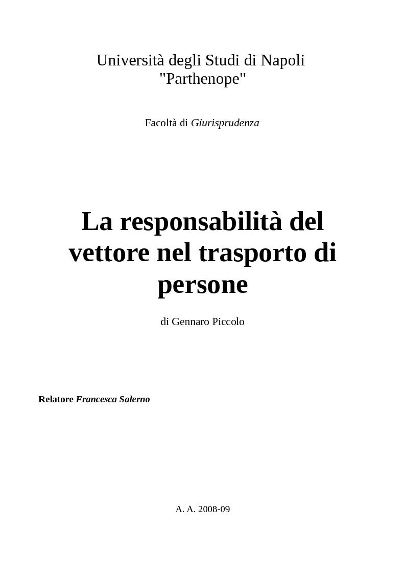 Anteprima della tesi: La responsabilità del vettore nel trasporto di persone, Pagina 1