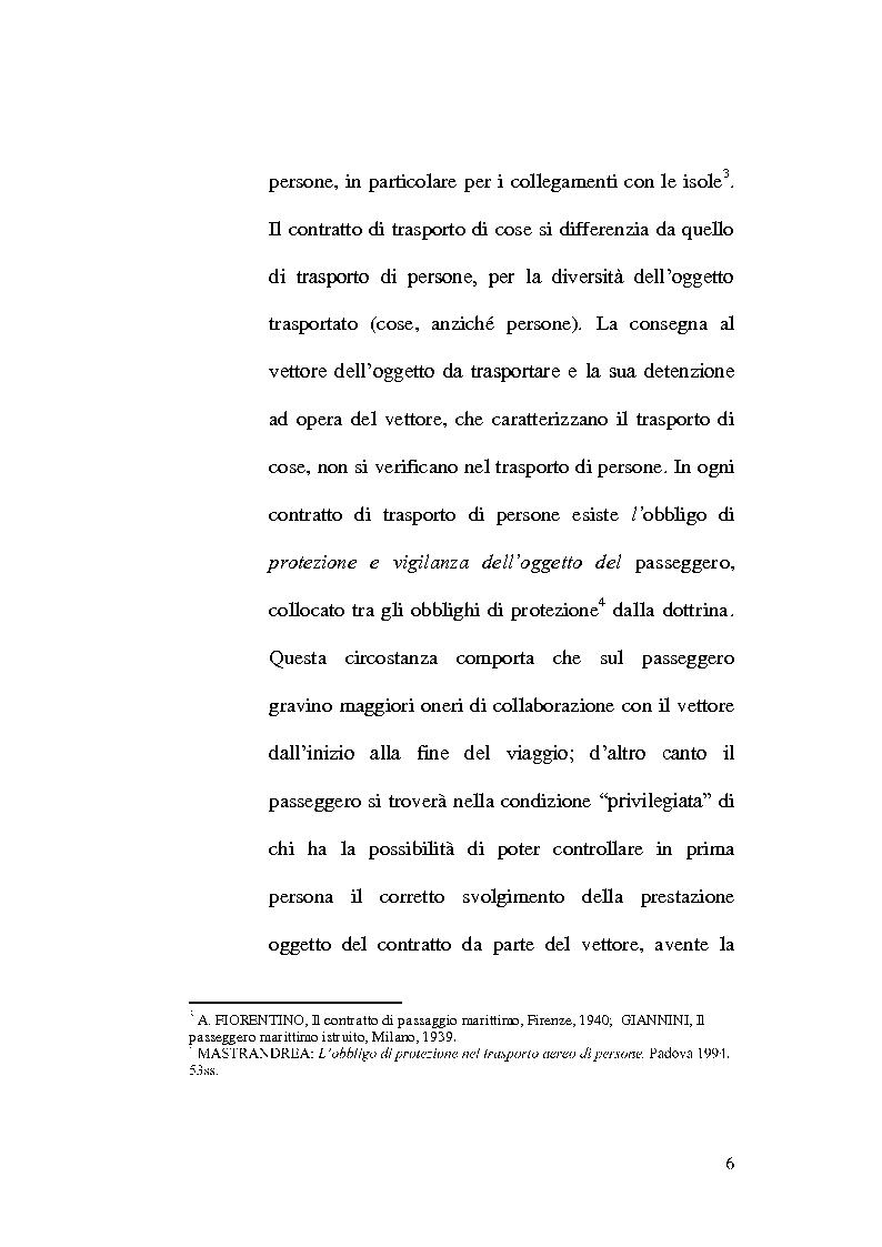 Anteprima della tesi: La responsabilità del vettore nel trasporto di persone, Pagina 6