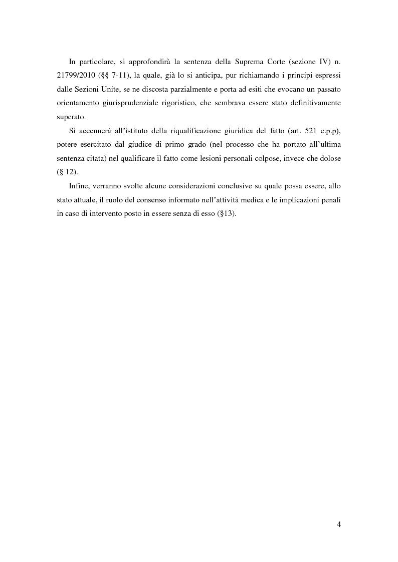 Anteprima della tesi: Il ruolo del consenso informato nella responsabilità medica: una questione aperta anche dopo l'intervento delle Sezioni Unite (Cass., SSUU, 18 dicembre 2008, Giulini), Pagina 3