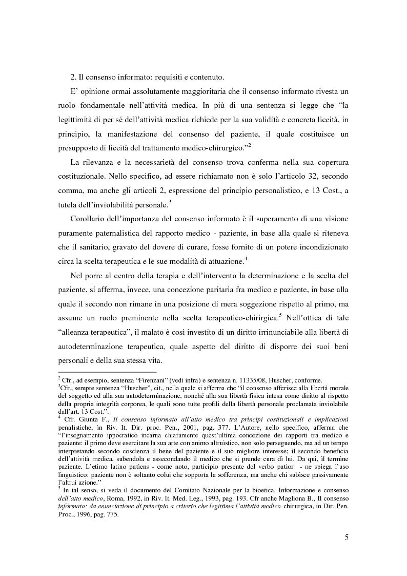 Anteprima della tesi: Il ruolo del consenso informato nella responsabilità medica: una questione aperta anche dopo l'intervento delle Sezioni Unite (Cass., SSUU, 18 dicembre 2008, Giulini), Pagina 4