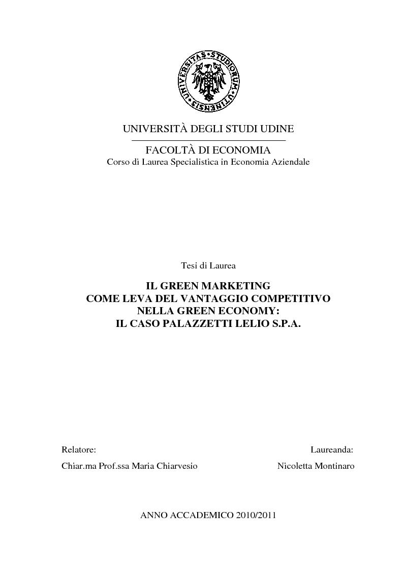 Anteprima della tesi: Il green marketing come leva del vantaggio competitivo nella green economy: il caso Palazzetti Lelio S.p.A., Pagina 1
