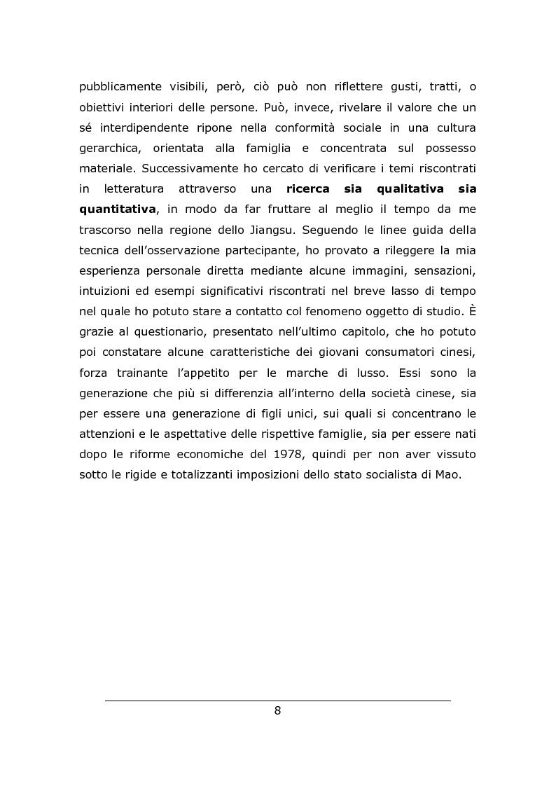 Anteprima della tesi: Consumo vistoso e di status nella ''nuova'' Cina urbana: ricerca ed osservazione nello Jiangsu, Pagina 5