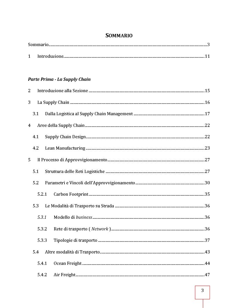 Indice della tesi: Performance Management applicato ad una Supply Chain: il caso CNH Italia Spa, Pagina 1
