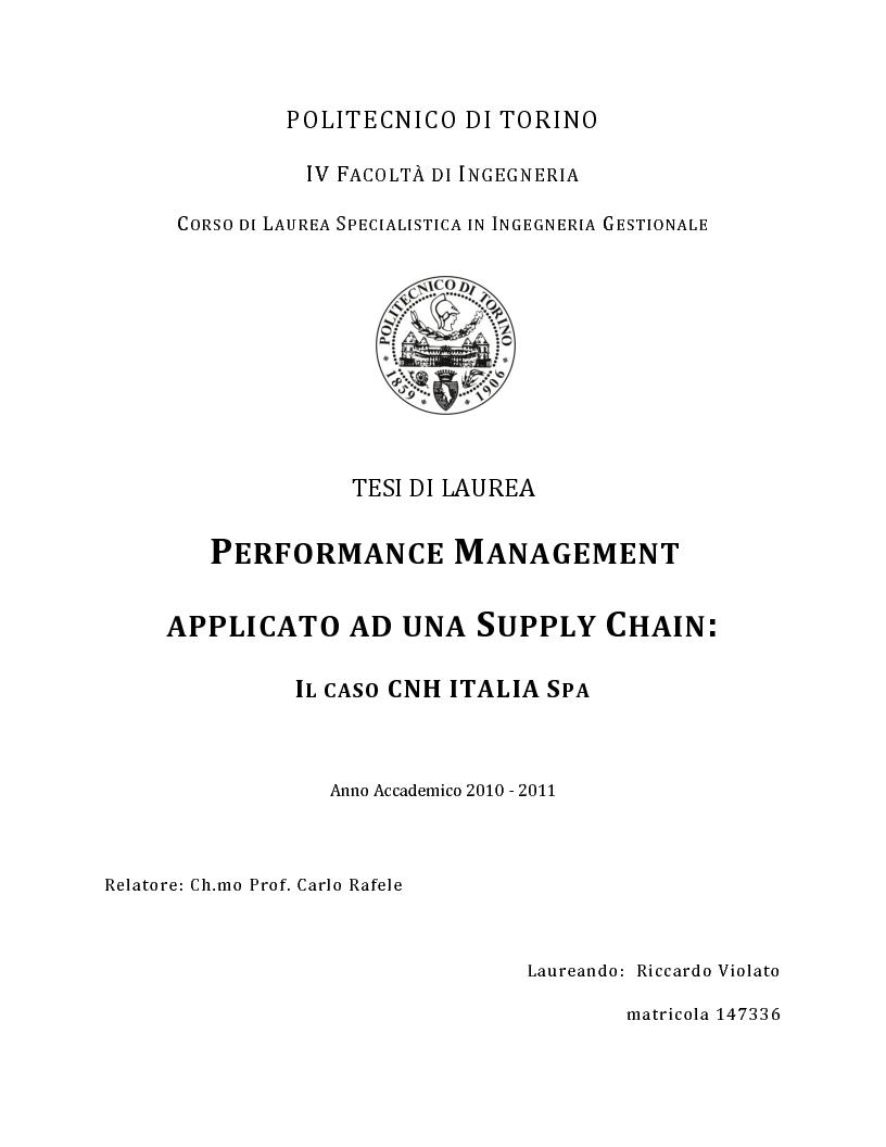 Anteprima della tesi: Performance Management applicato ad una Supply Chain: il caso CNH Italia Spa, Pagina 1