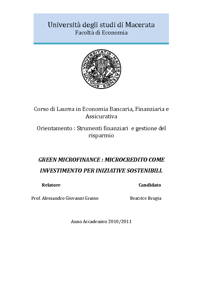 Anteprima della tesi: Green microfinance: microcredito come investimento per iniziative sostenibili, Pagina 1