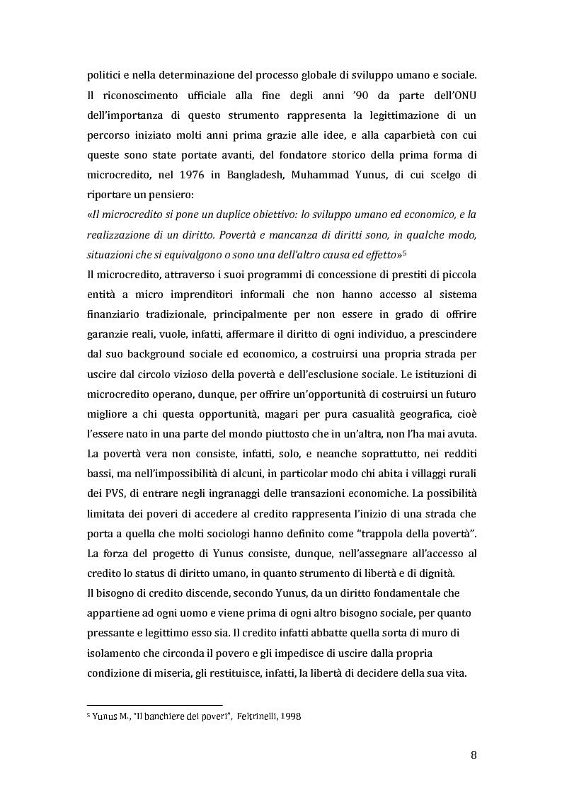Anteprima della tesi: Green microfinance: microcredito come investimento per iniziative sostenibili, Pagina 7
