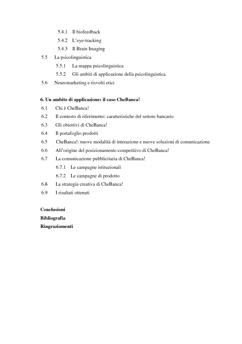 Indice della tesi: Il ruolo delle emozioni in pubblicità: analisi del caso aziendale CheBanca!, Pagina 2