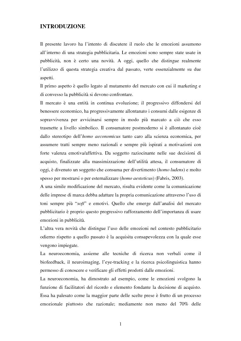 Anteprima della tesi: Il ruolo delle emozioni in pubblicità: analisi del caso aziendale CheBanca!, Pagina 2