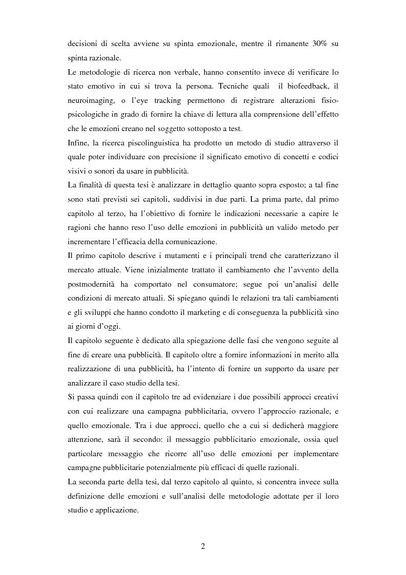 Anteprima della tesi: Il ruolo delle emozioni in pubblicità: analisi del caso aziendale CheBanca!, Pagina 3