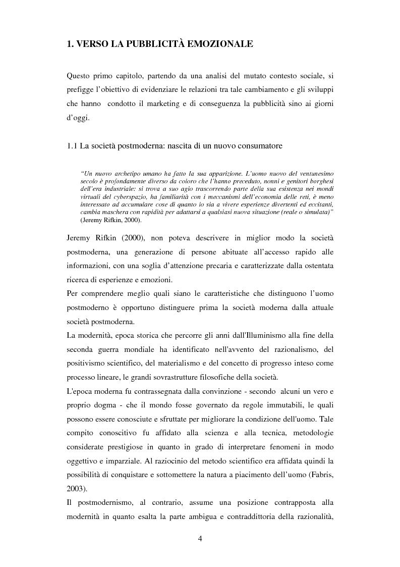 Anteprima della tesi: Il ruolo delle emozioni in pubblicità: analisi del caso aziendale CheBanca!, Pagina 5