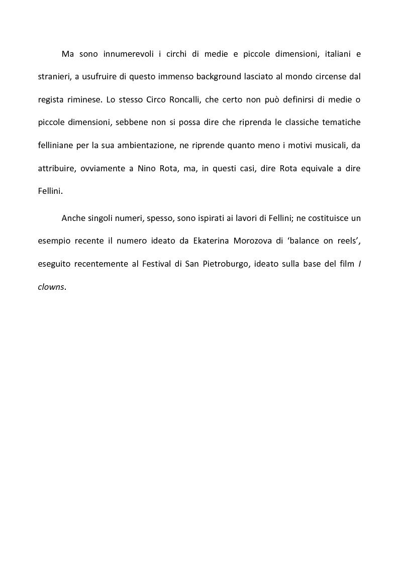 Anteprima della tesi: Fellini e il circo. Analisi di una passione, Pagina 12