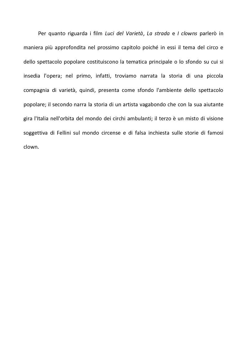 Anteprima della tesi: Fellini e il circo. Analisi di una passione, Pagina 6