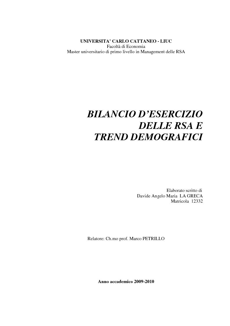 Anteprima della tesi: Il bilancio di esercizio delle RSA e trend demografici, Pagina 1