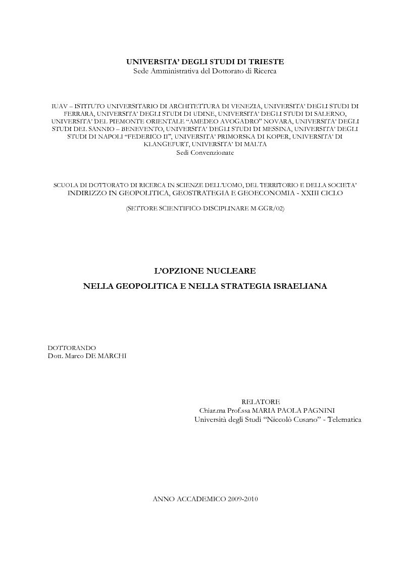 Anteprima della tesi: L'opzione nucleare nella geopolitica e nella strategia israeliana, Pagina 1