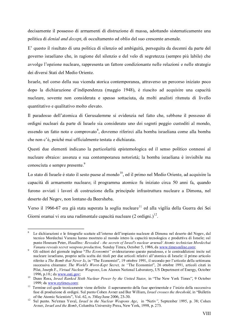 Anteprima della tesi: L'opzione nucleare nella geopolitica e nella strategia israeliana, Pagina 4