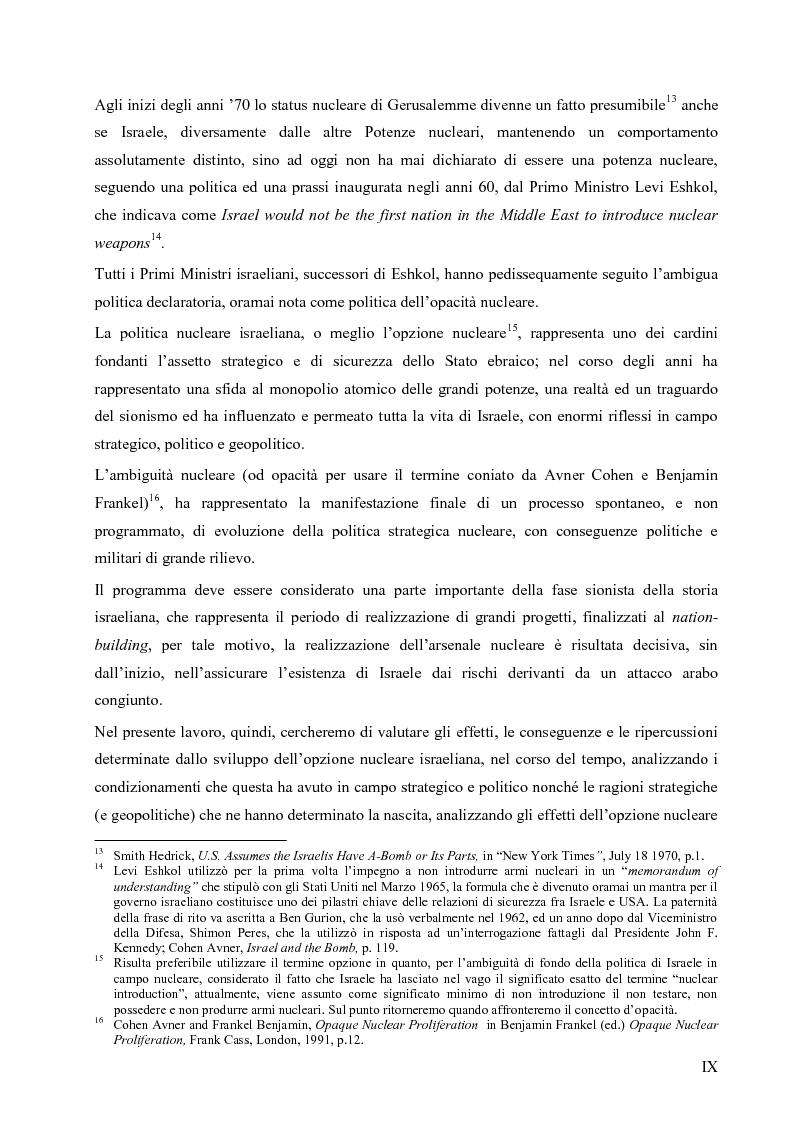 Anteprima della tesi: L'opzione nucleare nella geopolitica e nella strategia israeliana, Pagina 5