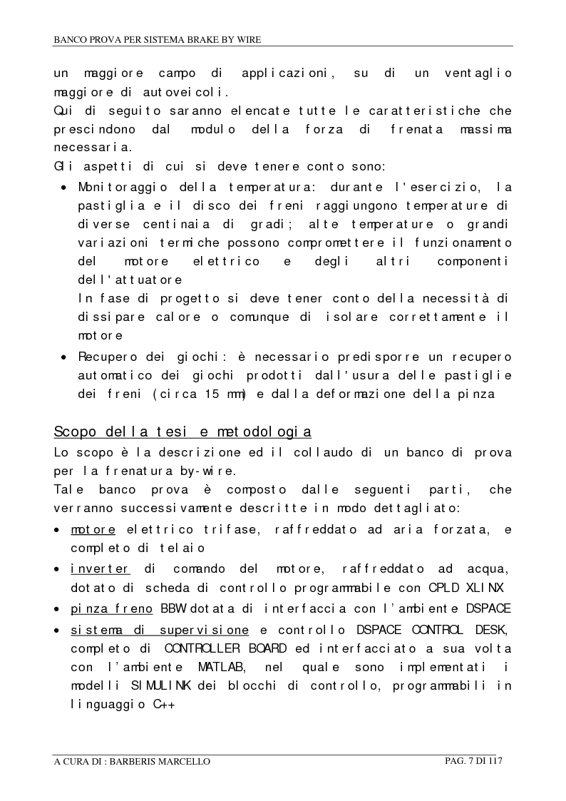 Anteprima della tesi: Banco prova per sistemi Brake by Wire, Pagina 6