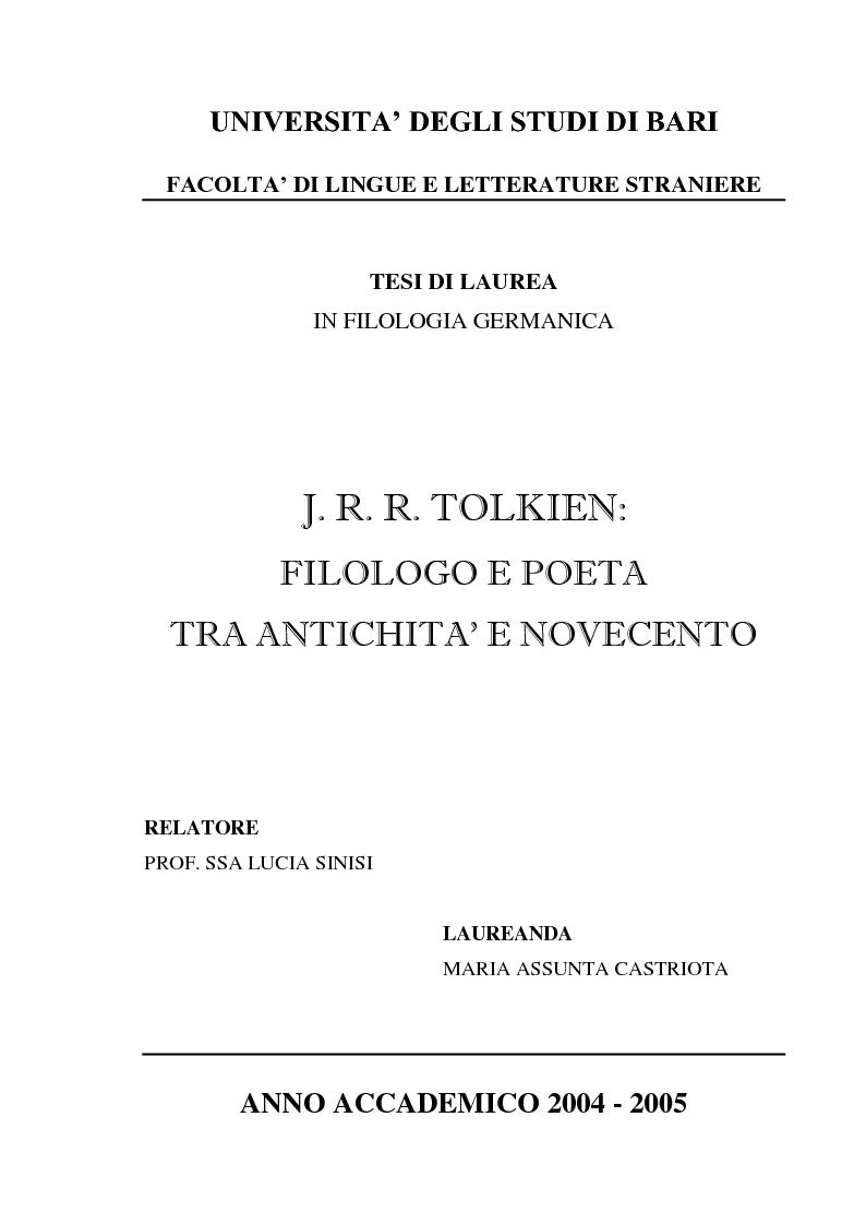 Anteprima della tesi: J.R.R. Tolkien: filologo e poeta tra antichità e '900, Pagina 1