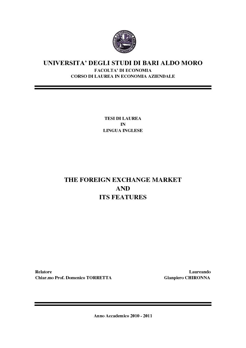 Anteprima della tesi: The Foreign Exchange Market and its features, Pagina 1