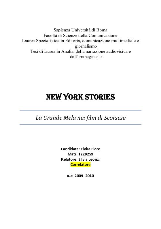 Anteprima della tesi: New York stories. La Grande Mela nei film di Scorsese., Pagina 1