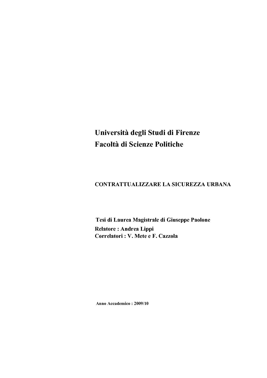Anteprima della tesi: Contrattualizzare la sicurezza urbana, Pagina 1