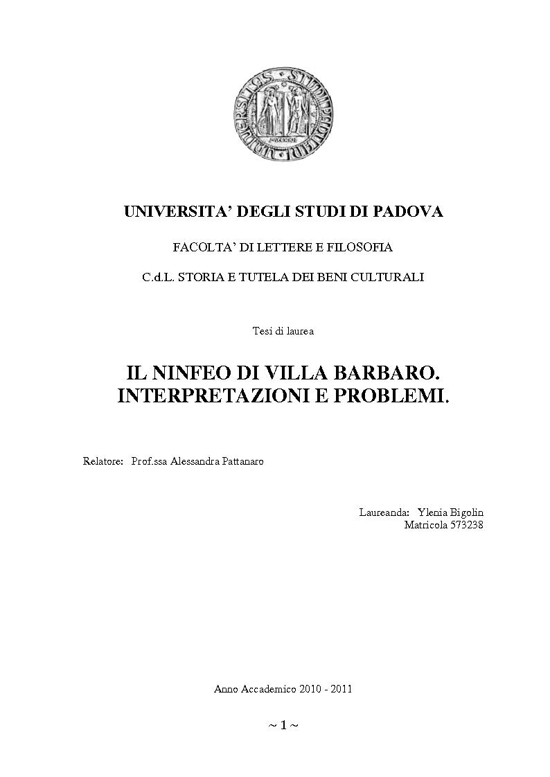 Anteprima della tesi: Il ninfeo di Villa Barbaro a Maser. Interpretazioni e problemi, Pagina 1