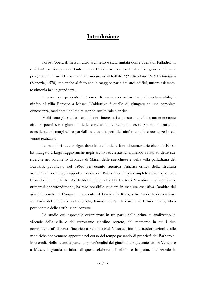Anteprima della tesi: Il ninfeo di Villa Barbaro a Maser. Interpretazioni e problemi, Pagina 2