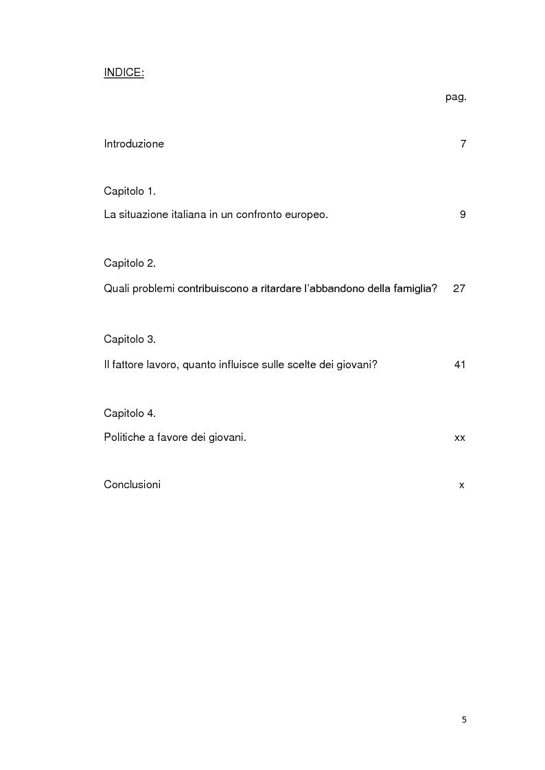 Indice della tesi: Le ragioni della permanenza in famiglia dei giovani adulti italiani, Pagina 1