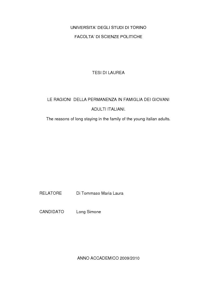 Anteprima della tesi: Le ragioni della permanenza in famiglia dei giovani adulti italiani, Pagina 1