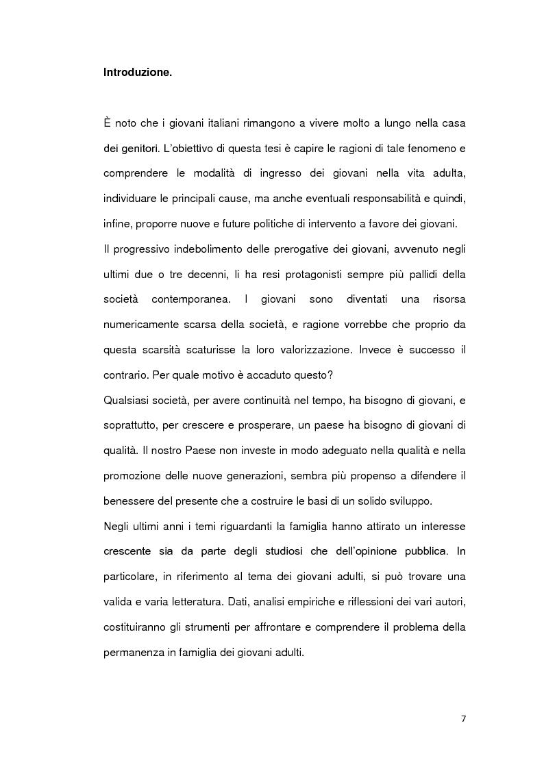 Le ragioni della permanenza in famiglia dei giovani adulti italiani - Tesi di Laurea