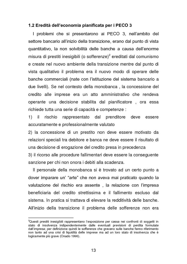 Anteprima della tesi: Risanamento e privatizzazione nel sistema bancario dei PECO 3 (Polonia , Ungheria , Repubblica Ceca), Pagina 12
