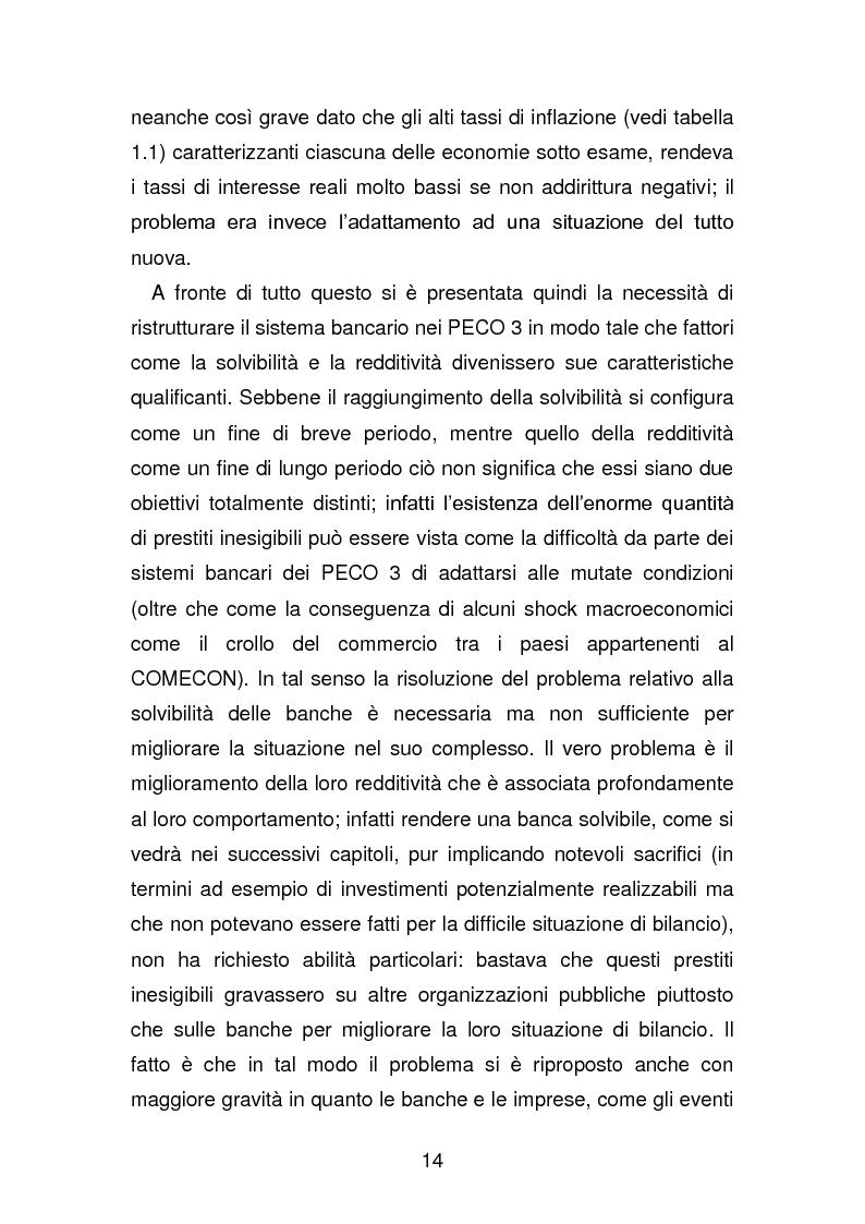 Anteprima della tesi: Risanamento e privatizzazione nel sistema bancario dei PECO 3 (Polonia , Ungheria , Repubblica Ceca), Pagina 13
