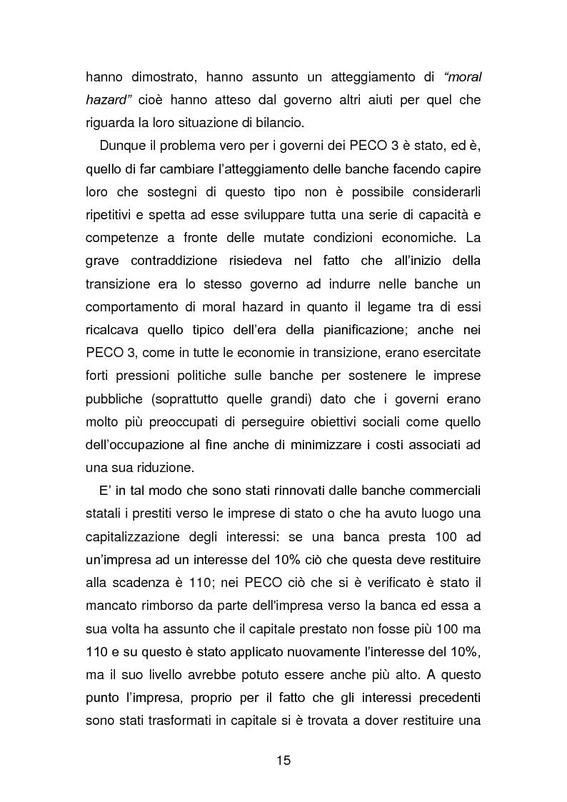 Anteprima della tesi: Risanamento e privatizzazione nel sistema bancario dei PECO 3 (Polonia , Ungheria , Repubblica Ceca), Pagina 14