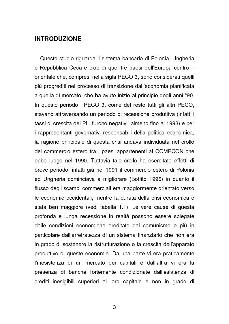 Anteprima della tesi: Risanamento e privatizzazione nel sistema bancario dei PECO 3 (Polonia , Ungheria , Repubblica Ceca), Pagina 2