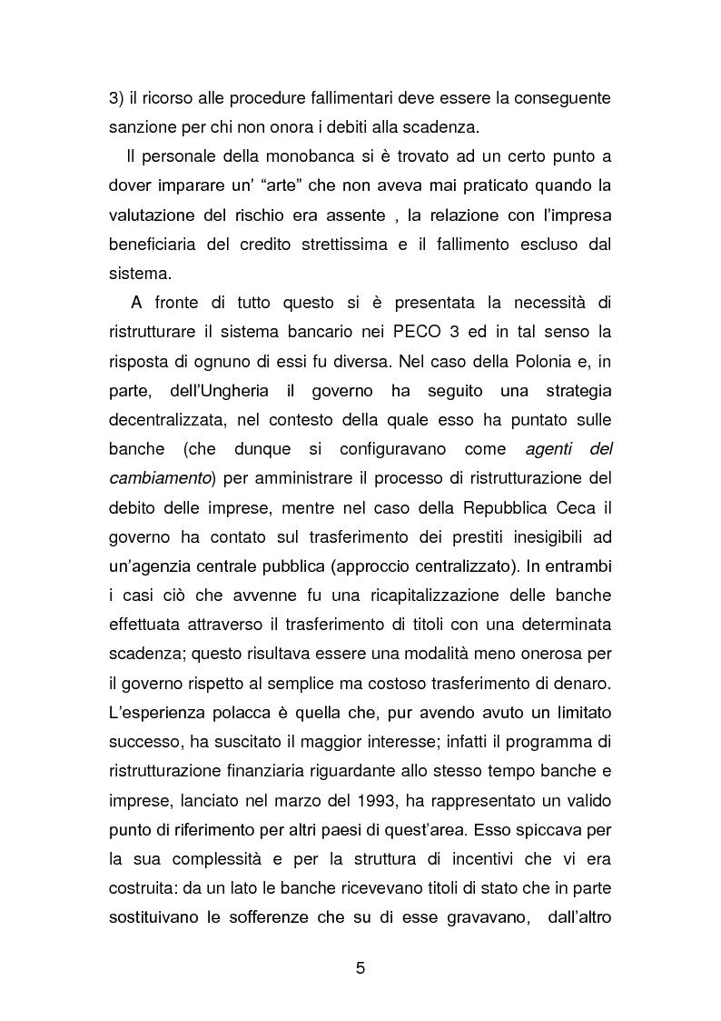 Anteprima della tesi: Risanamento e privatizzazione nel sistema bancario dei PECO 3 (Polonia , Ungheria , Repubblica Ceca), Pagina 4