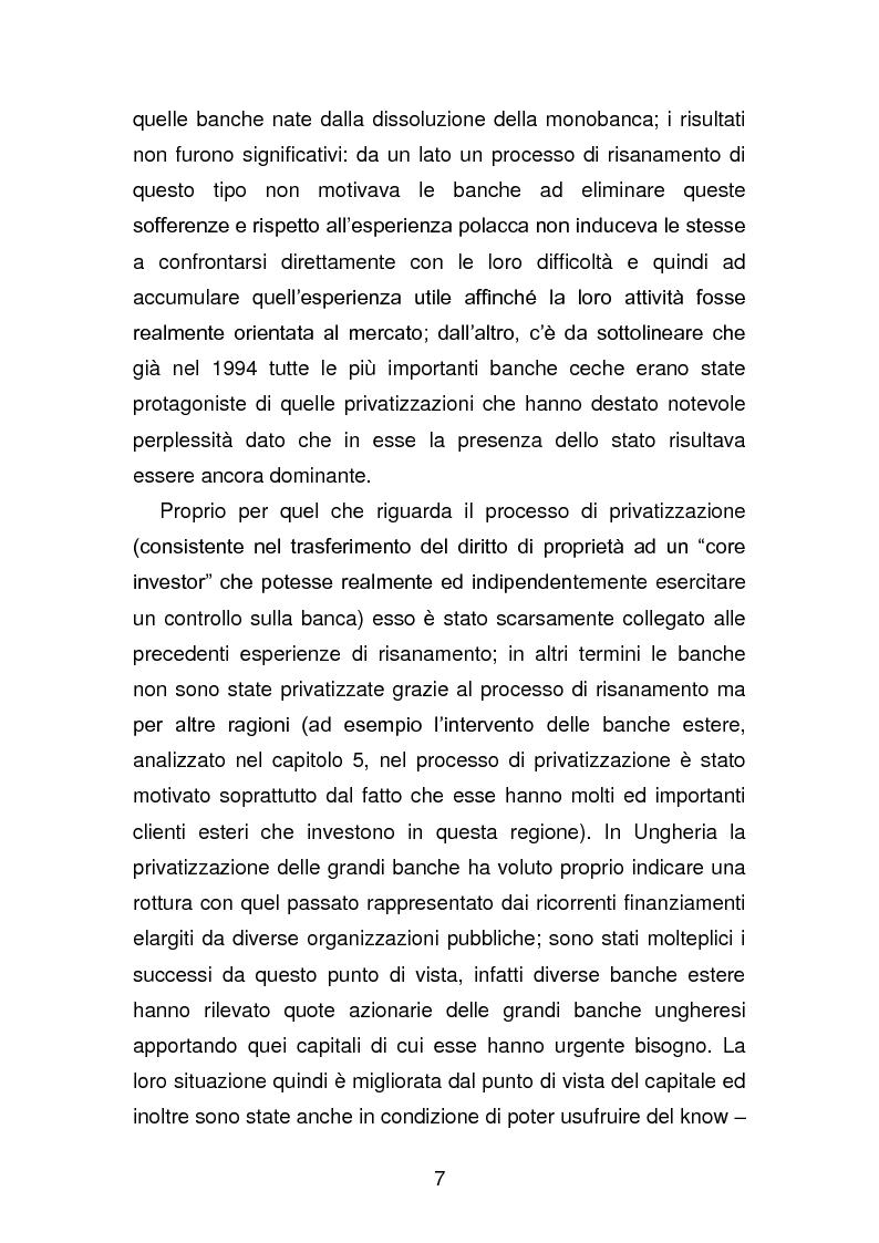 Anteprima della tesi: Risanamento e privatizzazione nel sistema bancario dei PECO 3 (Polonia , Ungheria , Repubblica Ceca), Pagina 6