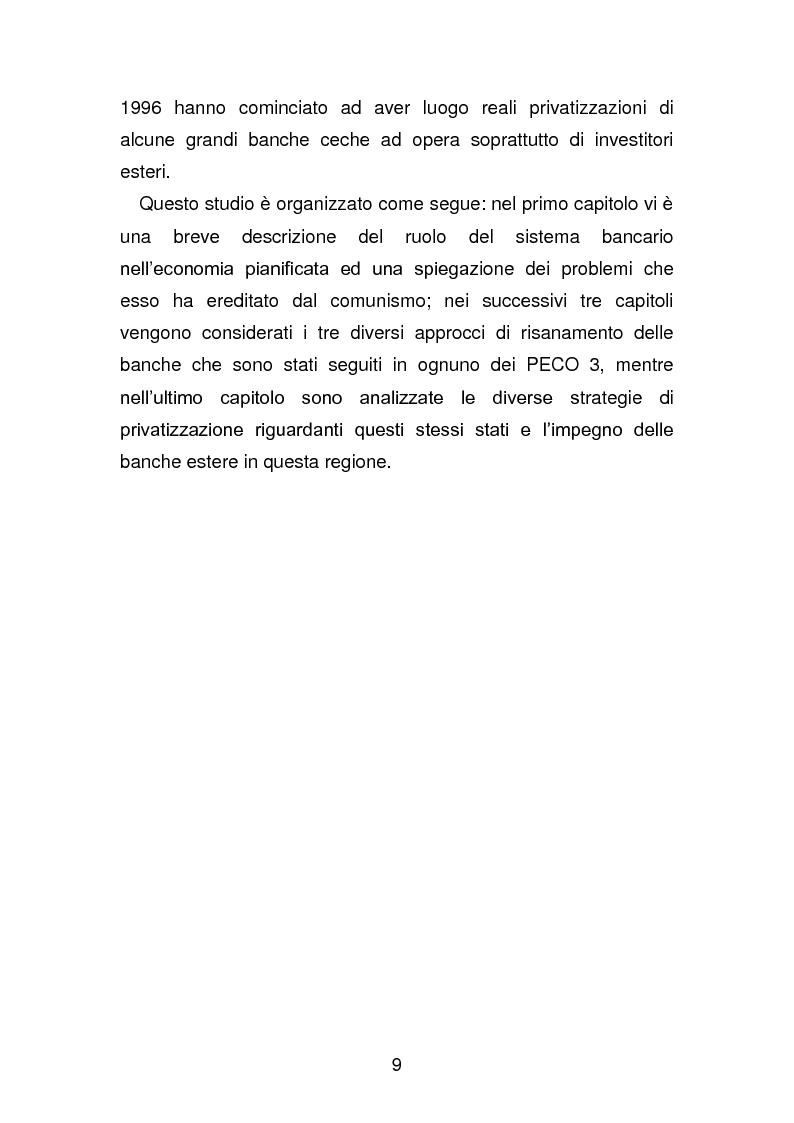 Anteprima della tesi: Risanamento e privatizzazione nel sistema bancario dei PECO 3 (Polonia , Ungheria , Repubblica Ceca), Pagina 8