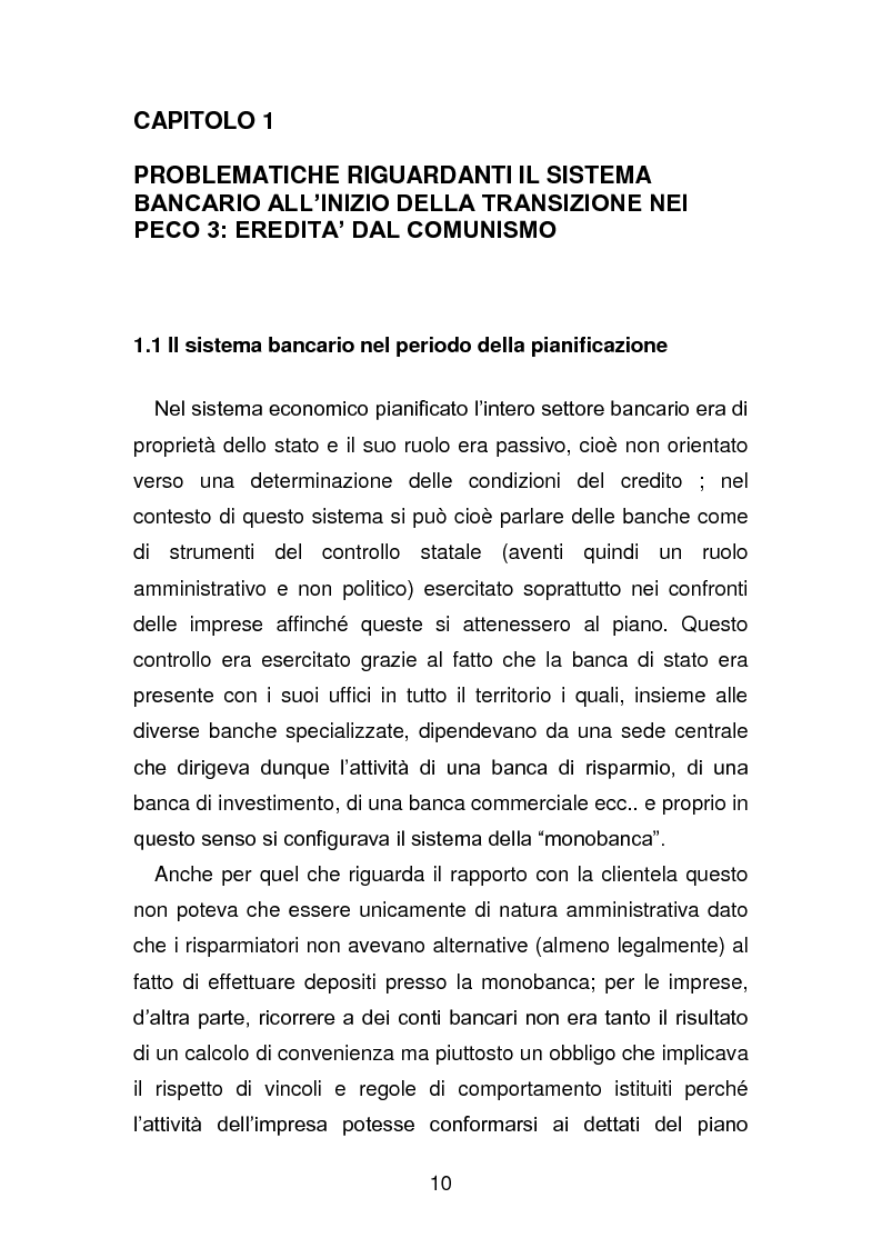 Anteprima della tesi: Risanamento e privatizzazione nel sistema bancario dei PECO 3 (Polonia , Ungheria , Repubblica Ceca), Pagina 9