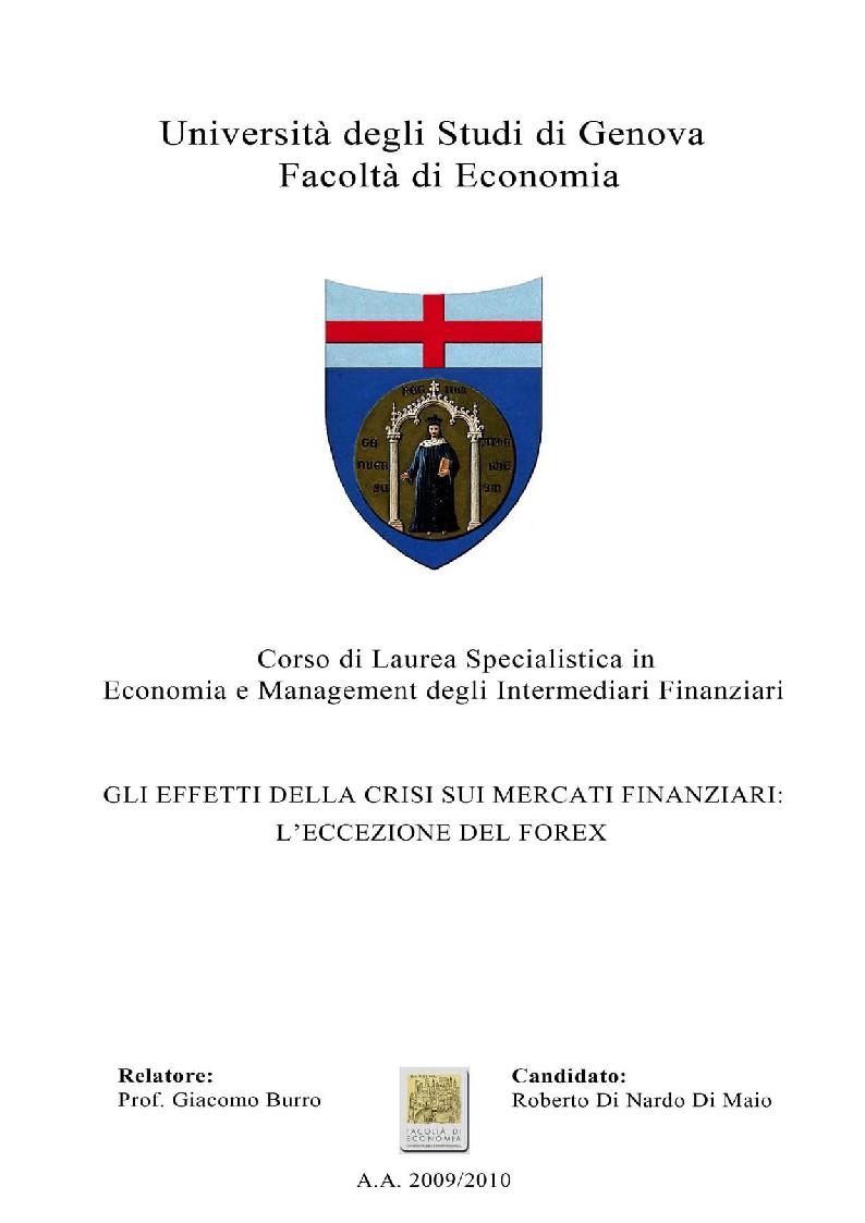 Anteprima della tesi: Gli effetti della crisi sui mercati finanziari. L'eccezione del Forex, Pagina 1