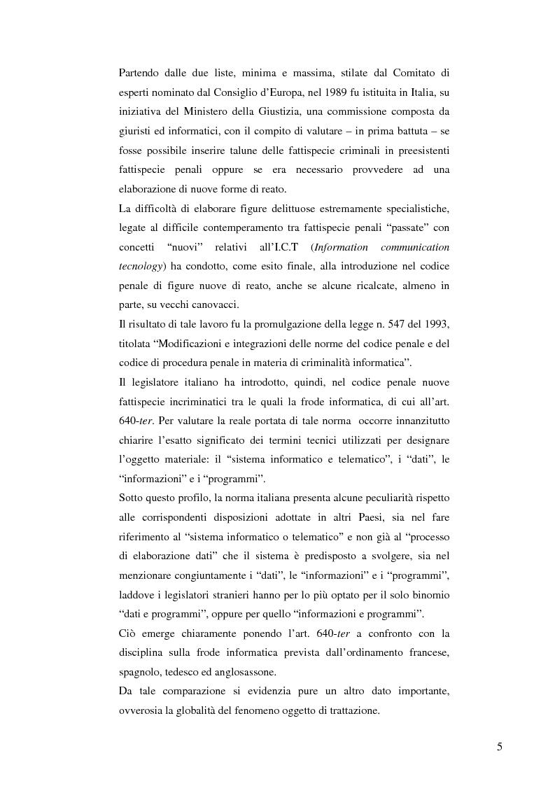Anteprima della tesi: La frode informatica: origine, ambito di operatività ed applicazione pratica di un reato sempre più attuale., Pagina 3