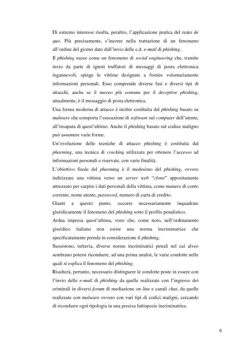 Anteprima della tesi: La frode informatica: origine, ambito di operatività ed applicazione pratica di un reato sempre più attuale., Pagina 4