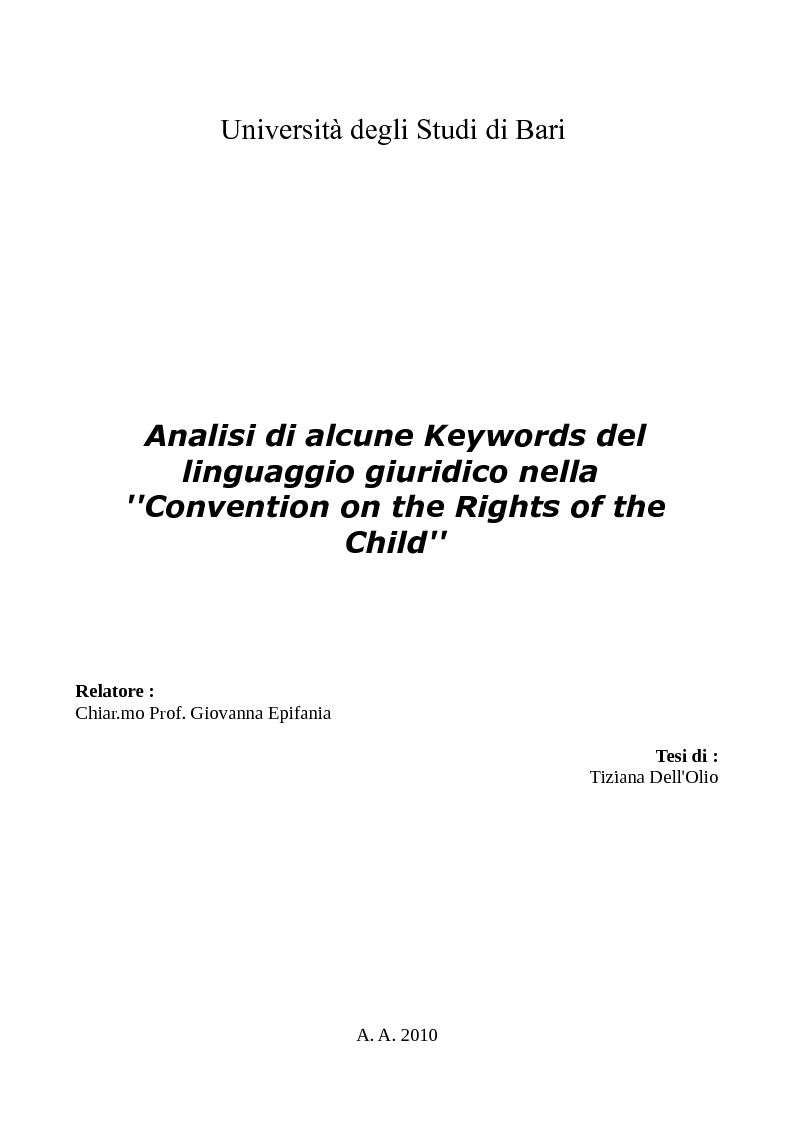 Anteprima della tesi: Analisi di alcune Keywords del linguaggio giuridico nella ''Convention on the Rights of the Child'', Pagina 1