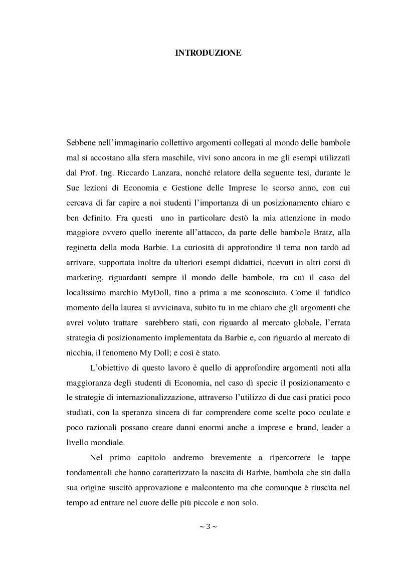 Anteprima della tesi: L'attacco di Bratz a Barbie nel mercato di massa ed il fenomeno My Doll nel mercato di nicchia. Errori di posizionamento e nuove tendenze., Pagina 2